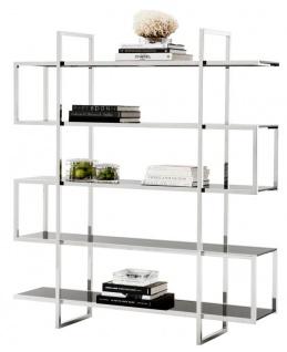 Casa Padrino Designer Regalschrank Silber 160 x 42 x H. 180 cm - Limited Edition