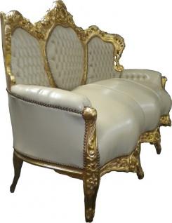 Casa Padrino Barock Sofa Garnitur Creme Lederoptik / Gold - Vorschau 2