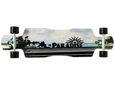Paradise Black Ocean DropTrough Complete Longboard - Long Skateboard Komplett Komplettboard