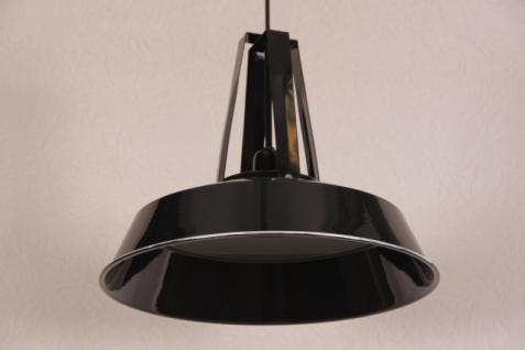 Casa Padrino Vintage Industrie Hängeleuchte Antik Stil Epoxy Schwarz Hochglanz Metall Durchmesser 42cm - Restaurant - Hotel Lampe Leuchte - Industrial Leuchte