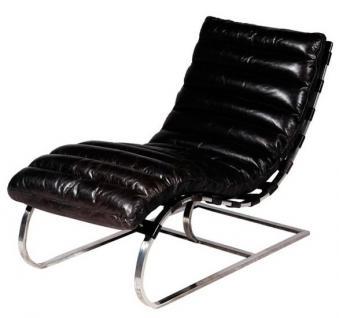 Casa Padrino Luxus Echtleder Vintage Liege / Sessel Schwarz - Leder Sessel Art Deco Lounge Relax Sessel