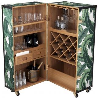 Casa Padrino Luxus Weinschrank mit Rollen Grün / Weiß / Schwarz / Gold 58 x 58 x H. 122 cm - Cocktailschrank - Kofferschrank im Retro Look - Barschrank im Vintage Koffer Design