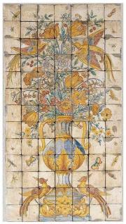 Casa Padrino Luxus Barock Deko Wandgemälde Vase mit Blumen und Vögel Mehrfarbig 70 x H. 130 cm - Handgefertigte & Handbemalte Naturstein Mosaik Fliesen - Barock Wanddeko