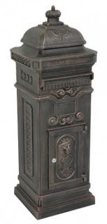 Standbriefkasten Antik Jugendstil Mod6 Briefkasten Postkasten Alu - Bronzefarben- Säulenbriefkasten - Englischer Briefkasten - Nostalgie Nostalgisch