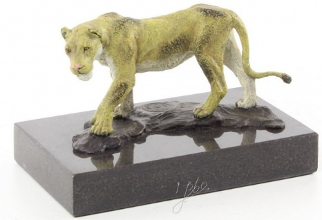 Casa Padrino Luxus Bronzefigur Löwin Mehrfarbig / Schwarz 12, 8 x 7, 7 x H. 8 cm - Dekofigur
