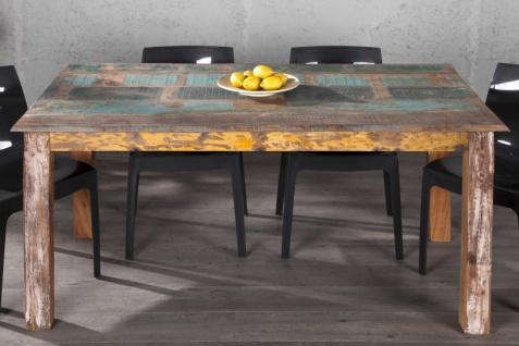 Casa Padrino Massivholz Esstisch Vintage Teakholz Recycled 158 cm - Esszimmer Vintage Look Design Tisch Massiv