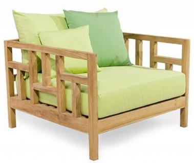 Casa Padrino Luxus Massivholz Gartensessel Naturfarben / Hellgrün 94 x 94 x H. 65 cm - Wetterbeständiger Teakholz Sessel mit Kissen - Garten & Terrassen Möbel - Luxus Qualität