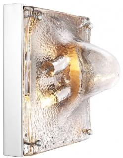 Casa Padrino Designer Wandleuchte Silber 26 x 19 x H. 26 cm - Designer Lampe mit handgefertigtem Glas