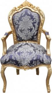 Casa Padrino Barock Esszimmer Stuhl Blau Muster / Gold mit Armlehnen - Limited Edition