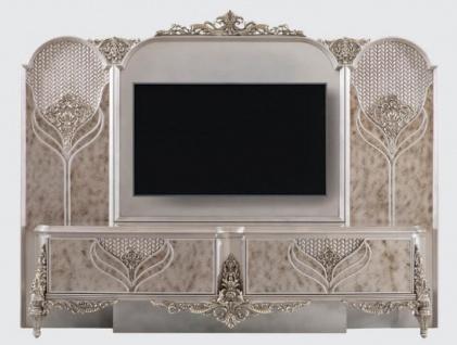 Casa Padrino Luxus Barock TV Schrank Silber - Prunkvolles Wohnzimmer Sideboard mit Rückwand - Barock Wohnzimmer Möbel
