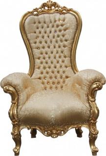 Casa Padrino Barock Thron Sessel Majestic Medium Gold Muster / Gold mit Bling Bling Glitzersteinen - Riesensessel - Thron Stuhl Tron