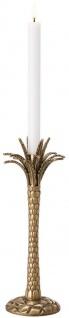 Casa Padrino Luxus Kerzenhalter Vintage Messingfarben Ø 13 x H. 36 cm - Handgefertigter Messing Kerzenständer im Palmen Design - Luxus Accessoires