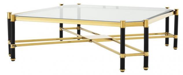 Casa Padrino Luxus Couchtisch Gold / Schwarz 115 x 115 x H. 35, 5 cm - Limited Edition