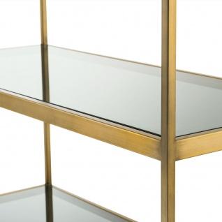 Casa Padrino Luxus Regalschrank Messing / Grau 95 x 40 x H. 225 cm - Edelstahl Schrank mit 5 Glasregalen - Büromöbel - Wohnzimmermöbel - Vorschau 4