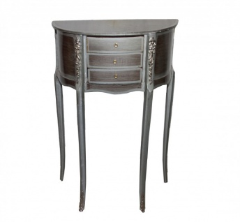 Casa Padrino Barock Kommode mit 3 Schubladen Silber/ Braun H 79 cm, B 52 cm - Antik Stil - Nachttisch Konsole