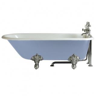 Casa Padrino Luxus Gusseisen Badewanne Hellblau / Weiß 170 cm - Freistehende Badewanne - Barock & Jugendstil Badezimmer Möbel