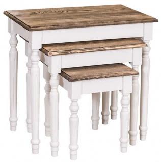 Casa Padrino Landhausstil Beistelltisch 3er Set Weiß / Braun - Landhausstil Massivholz Möbel