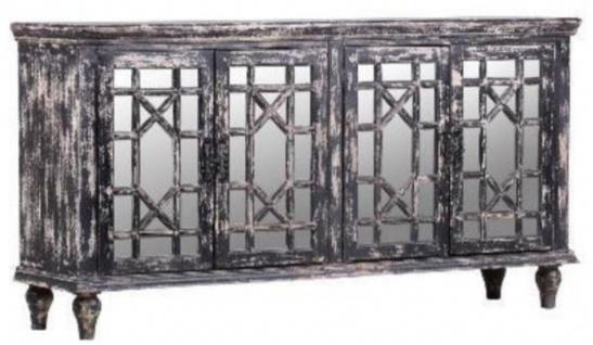 Casa Padrino Landhausstil Sideboard Vintage Schwarz 182 x 45 x H. 100 cm - Massivholz Schrank mit 4 verspiegelten Türen - Landhausstil Möbel