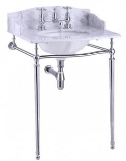 Casa Padrino Luxus Jugendstil Stand Waschtisch Weiß / Chrom mit Marmorplatte B 65cm mit Spritzschutz hinten und seitlich - Art Deco Waschbecken Barock Antik Stil
