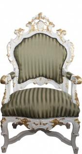 Casa Padrino Barock Luxus Thron Sessel Grün/Gold Streifen / Weiss/Gold - Unikat - Barock Möbel Thron Königssessel - Limited Edition