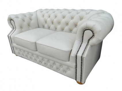 Casa Padrino Echtleder 2er Sofa Weiß 160 x 90 x H. 78 cm - Chesterfield Möbel