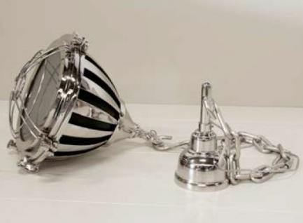 Casa Padrino Industrial Hängeleuchte Silber Vernickelt 48cm Druchmesser - Industrie Design Vintage Lampe Leuchte