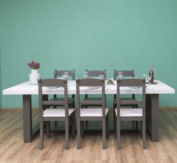Casa Padrino Landhausstil Esszimmer Möbel Set Hellgrau / Grau - 1 Esstisch & 6 Esszimmerstühle - Massivholz Esszimmer Möbel - Landhausstil Möbel - Vorschau 2