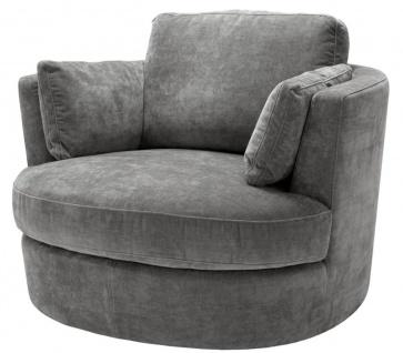 Casa Padrino Luxus Sessel / Drehsessel Grau 110 x 100 x H. 70 cm - Wohnzimmermöbel