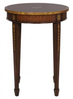 Casa Padrino Luxus Jugendstil Mahagoni Beistelltisch Braun / Gold Ø 51 x H. 69 cm - Kleiner Runder Beistelltisch mit Schublade