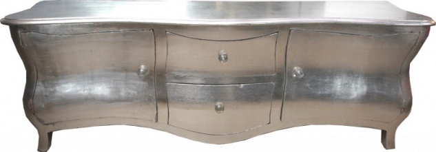 Lange Barock Kommode / Fernsehschrank / Sideboard Silber 170cm - Fernsehkommode
