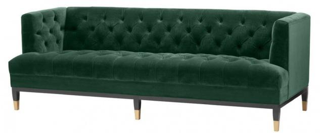 Casa Padrino Luxus Wohnzimmer Sofa Grün / Schwarz / Messingfarben 230 x 85 x H. 79 cm - Chesterfield Samtsofa