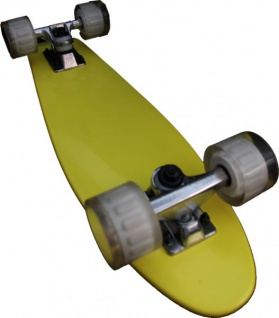 MySkateBrand Oldschool Skateboard Wood Cruiser 70s Style Yellow - 25.5 x 5.875 inch - Skateboard Longboard