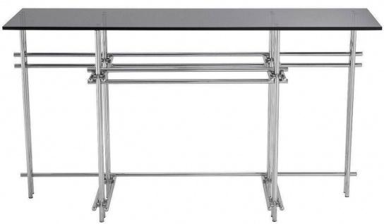 Casa Padrino Designer Konsole Silber / Grau 131 x 36, 5 x H. 73 cm - Edelstahl Konsolentisch mit Glasplatte - Designer Möbel - Luxus Qualität - Vorschau 2