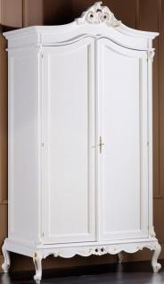 Casa Padrino Luxus Barock Schlafzimmerschrank Weiß / Gold 115 x 62 x H. 218 cm - Edler Massivholz Kleiderschrank mit 2 Türen - Schlafzimmer Möbel im Barockstil