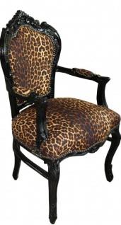 Casa Padrino Barock Esszimmer Stuhl Leopard / Schwarz mit Armlehnen - Vorschau 2