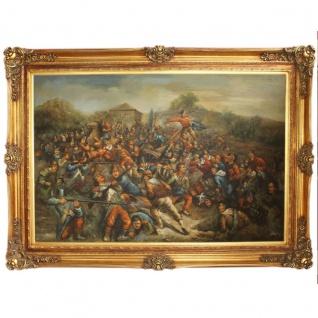 Riesiges Handgemaltes Barock Öl Gemälde Krieg Gold Prunk Rahmen 225 x 165 x 10 cm - Massives Material