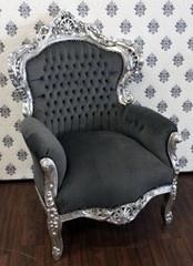 Casa Padrino Barock Sessel King Grau / Silber - Luxus Antik Stil Sessel