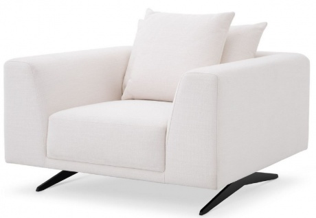 Casa Padrino Luxus Wohnzimmer Sessel mit Kissen Weiß / Bronzefarben 110 x 108 x H. 64 cm - Wohnzimmer Möbel - Luxus Möbel
