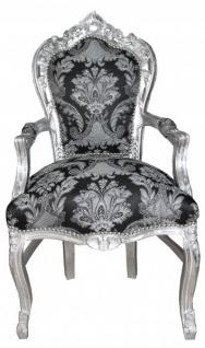 Casa Padrino Barock Esszimmer Mit Armlehnen Schwarz Muster Silber