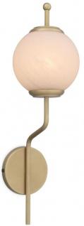 Casa Padrino Luxus Wandleuchte Antik Messingfarben / Weiß Ø 19 x H. 66 cm - Wandlampe mit rundem Glas Lampenschirm - Luxus Leuchten