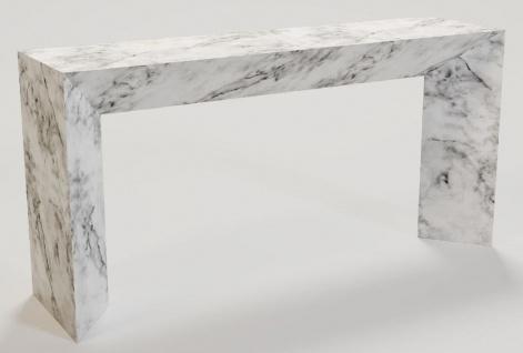 Casa Padrino Luxus Marmor Konsole Weiß 160 x 42 x H. 80 cm - Moderner Konsolentisch aus hochwertigem Carrara Marmor - Luxus Möbel