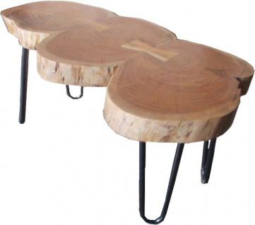 Casa Padrino Beistelltisch Akazien Holz / Eisen 80 - 120 cm - Industrial Möbel Hocker Tisch - Vorschau 3