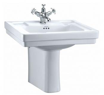 Casa Padrino Luxus Waschbecken mit halben Sockel 61 x 51 x H. 50 cm - Porzellan Waschbecken