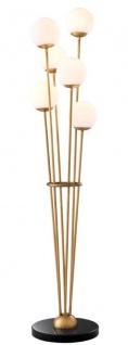 Casa Padrino Luxus Stehleuchte Antik Messingfarben / Schwarz / Weiß Ø 42 x H. 169 cm - Designer Stehlampe mit Marmorsockel und kugelförmigen Glas Lampenschirmen