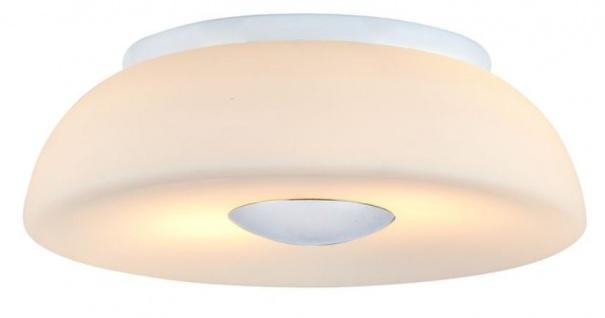 Casa Padrino Luxus Deckenleuchte Weiß / Silber Ø 30 x H. 10 cm - Wohnzimmer Deckenlampe - Vorschau 1