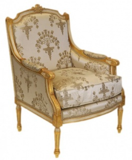 Casa Padrino Barock Lounge Thron Sessel Empire Creme Muster / Gold - Ohren Sessel - Ohrensessel Tron Stuhl