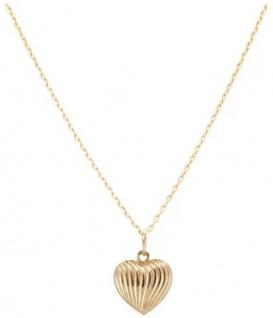 Casa Padrino Luxus Damen Halskette Herz Gold - Handgefertigte 9 Karat Gold Kette - Edler Damenschmuck - Luxus Kollektion