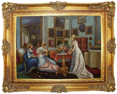 Casa Padrino Barock Ölgemälde 3 Damen Mehrfarbig / Gold 160 x 10 x H. 130 cm - Handgemaltes Gemälde mit prunkvollem Rahmen im Barockstil - Barock Deko Accessoires