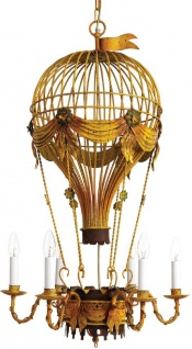 Casa Padrino Luxus Jugendstil Kronleuchter Heißluftballon Antik Gelb / Rostfarben / Grün Ø 45 x H. 95 cm - Barock & Jugendstil Wohnzimmer Kronleuchter