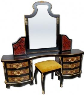 Casa Padrino Luxus Barock Boulle Schlafzimmer Set Schwarz / Rot / Gold - 1 Schminkkommode mit Spiegel & 1 Hocker - Prunkvolle Schlafzimmer Möbel im Barockstil - Luxus Qualität - Made in Italy